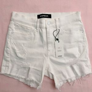 White High Waisted Raw Hem Stretch Shorts